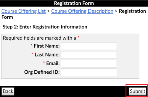 Image of the Registration form with the Submit button highlighted