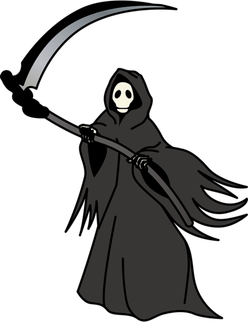 Drawing of the grim reaper with a scythe