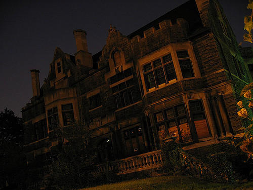 Large Haunted house at nighttime