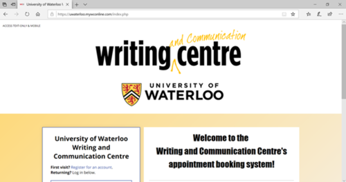 The Writing and Communication Centre's WCOnline website homepage