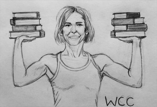 muscular woman holding two stacks of books
