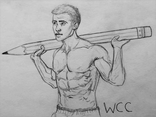 muscled man holding large pencil