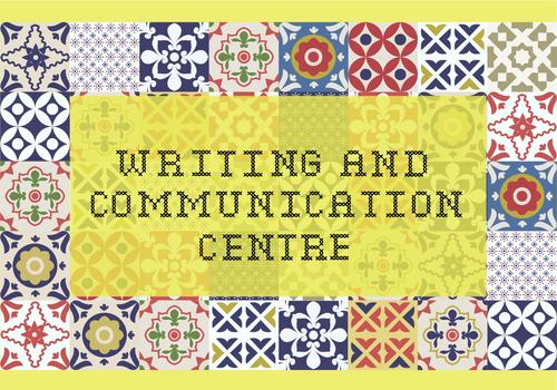 writing and communication text on a quilt