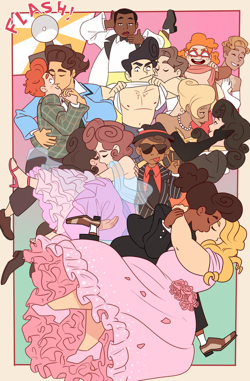 Diverse webcomic characters of various races and relationships