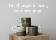 Three mugs stacked on top of eachother; text reads 'don't forget to bring your mug!'