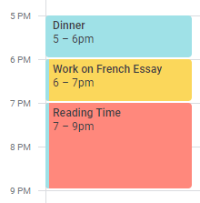 """Google calendar with events such as """"Reading Time"""""""