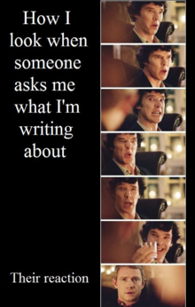 how I look when someone asks me what I'm writing about