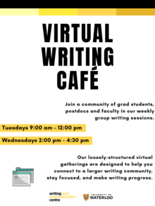 Imagine of a poster for the virtual writing café describing the information on the page
