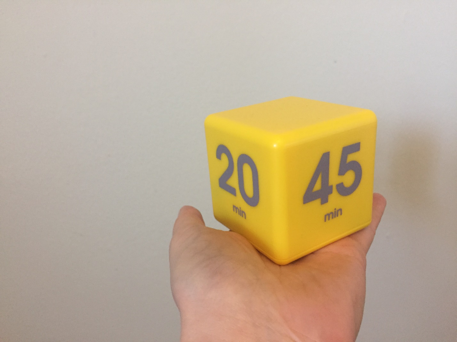 A close-up of Nadine's beloved timer cube.