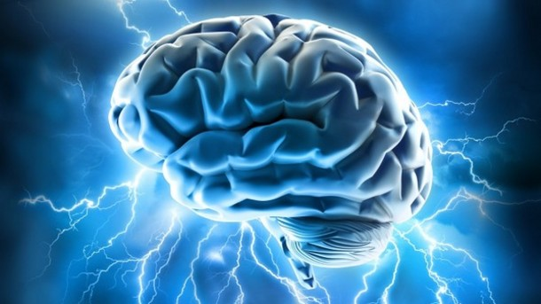 Brain surrounded by electricity