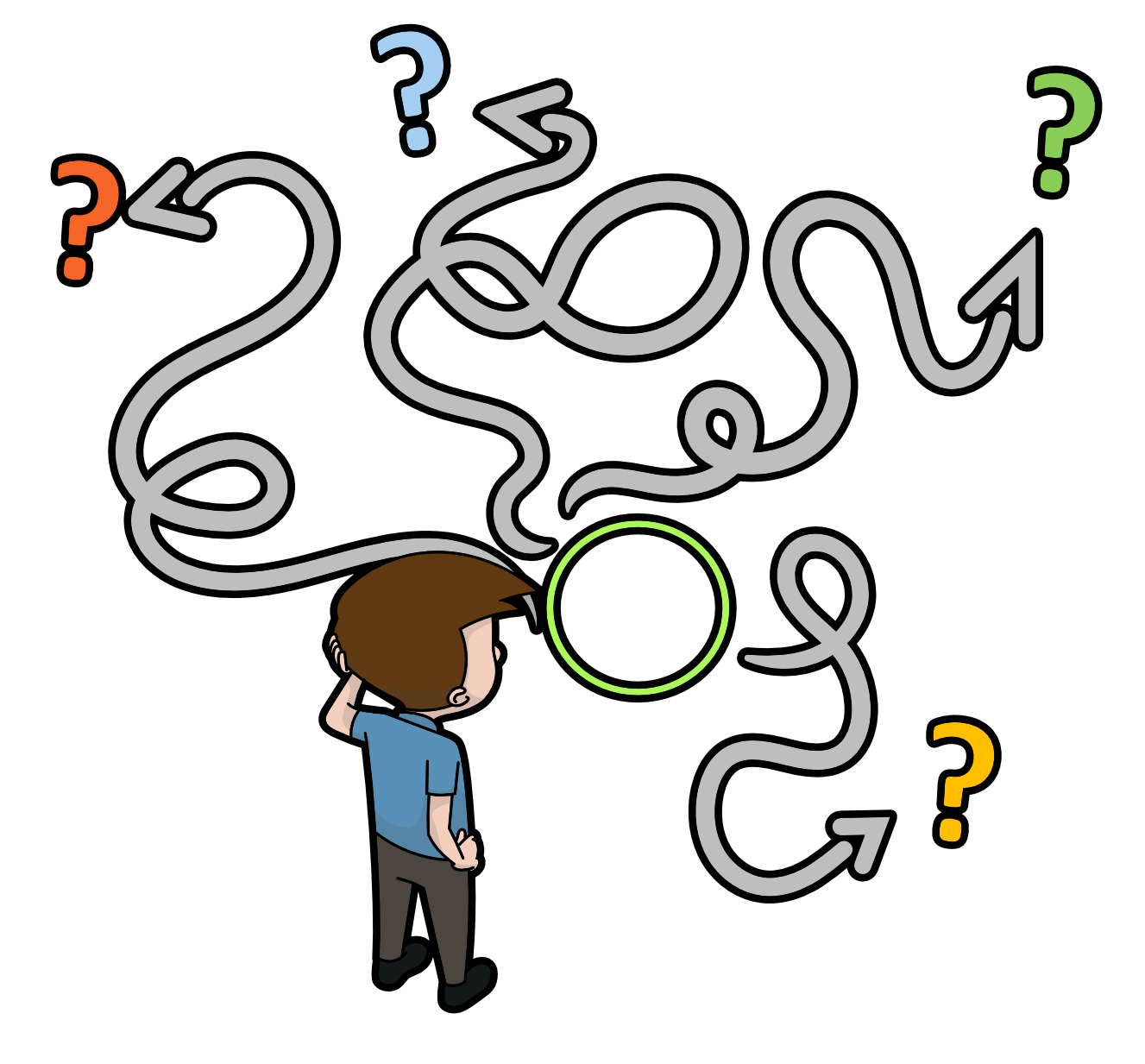 A boy looking at interconnected arrows leading to different endpoints in confusion.