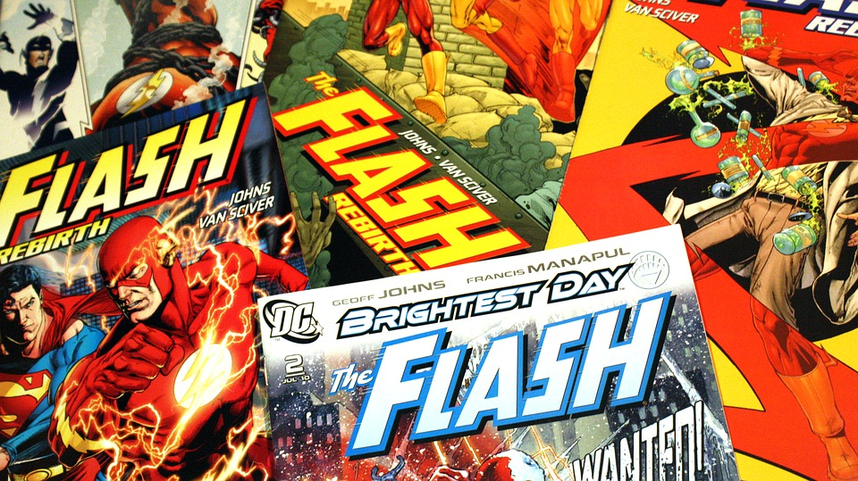 "A stack of ""The Flash"" comic books"