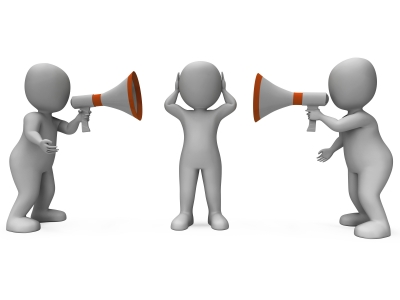 Shows three 3D stick figures. One is standing in the middle covering their ears while the other two are on either side yelling into speaker phones toward the middle figure
