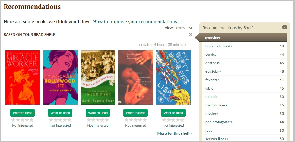 Screenshot of the Goodreads Recommendations page