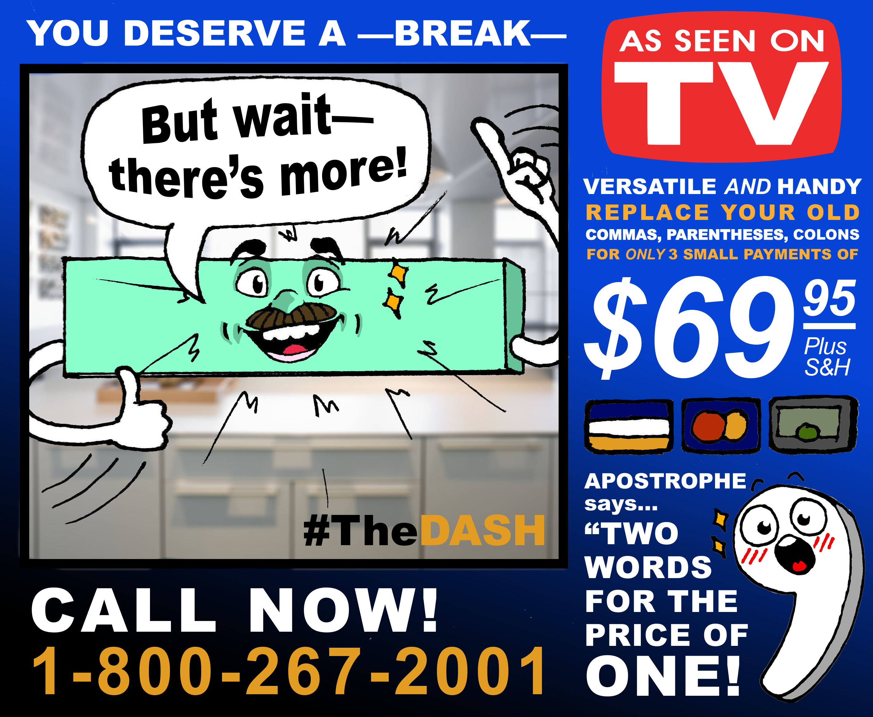 TV infomercial spoof with cartoon dash and apostrophe selling punctuation marks