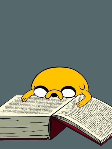 jake from adventure time reading a book