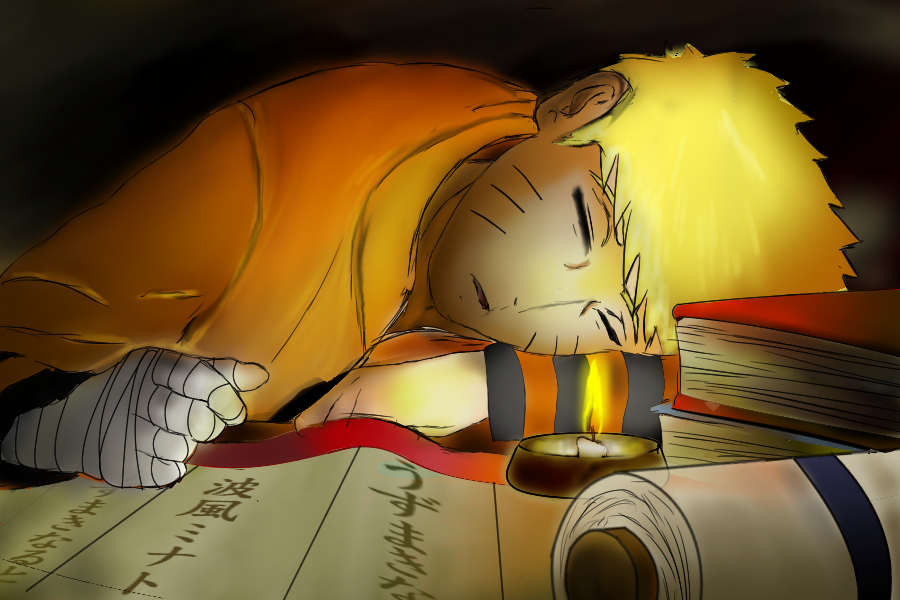 Naruto sleeping with his head on a table