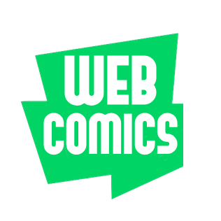 Green angular speech bubble with the word webcomics in it