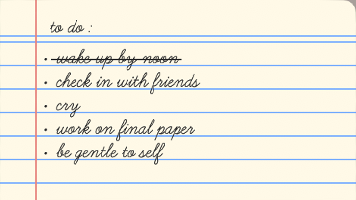 A to do list to write productively and take care of oneself