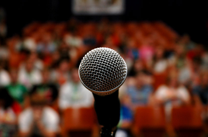 microphone in front of audience