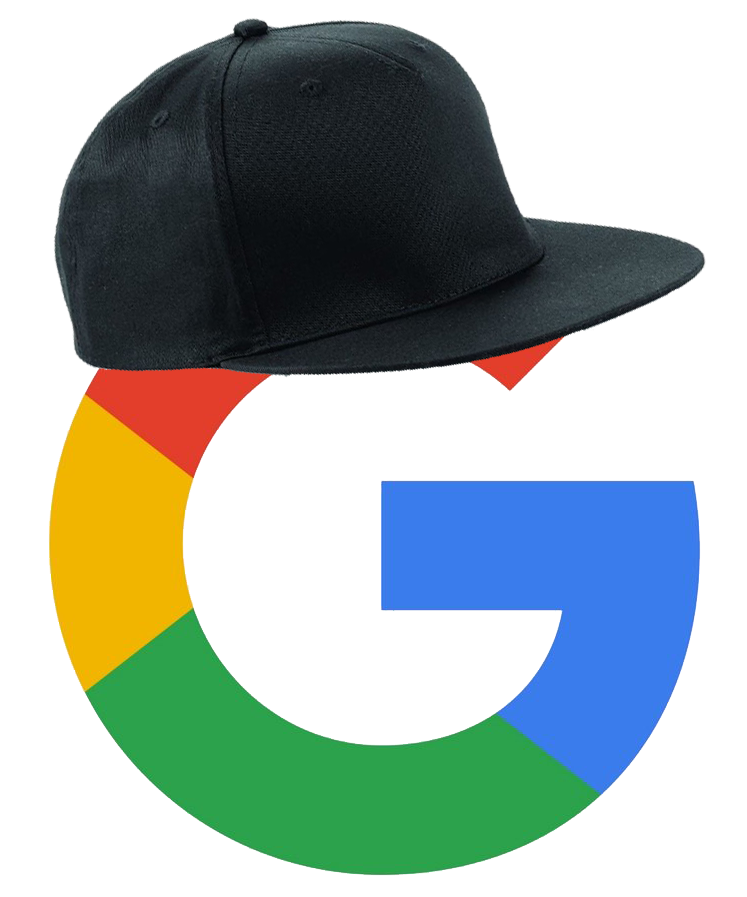 Google logo in a snapback hat.