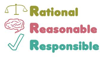 Infographic of the 3 Rs of university survival, rational with a balancing scale, reasonable with a brain, and responsible with a checkmark