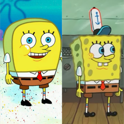 An image comparing two SpongeBob characters. One is round and 'normal', while the other is square.