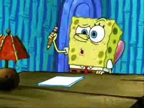 Spongebob struggling to think of something to write