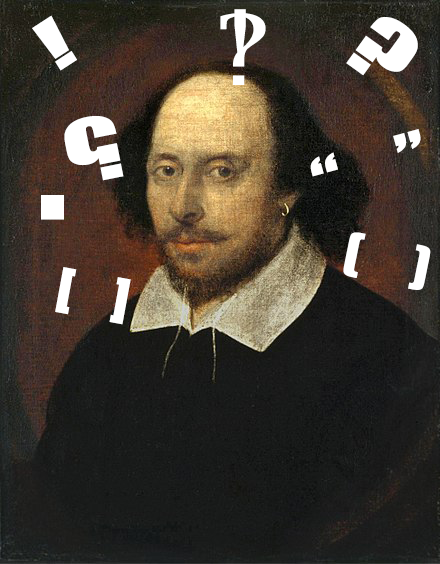 Painting of William Shakespeare surrounded by different punctuation marks