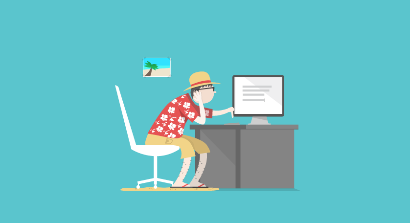 man studying at desk in vacation clothes